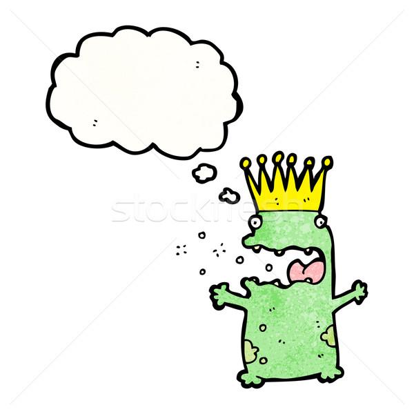 Béka herceg rajz retro gondolkodik rajz Stock fotó © lineartestpilot