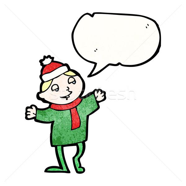 Karikatür Noel cin Retro doku yalıtılmış Stok fotoğraf © lineartestpilot