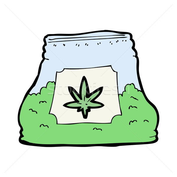 Cartoon sac weed main design fou Photo stock © lineartestpilot