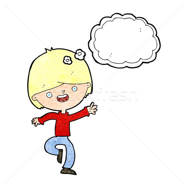 Cartoon taniec bubble myśl strony człowiek Zdjęcia stock © lineartestpilot