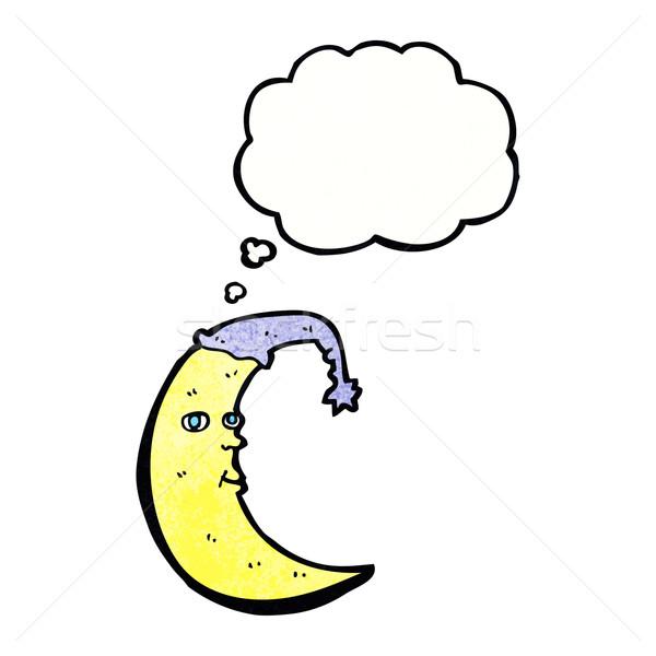 Assonnato luna cartoon bolla di pensiero mano design Foto d'archivio © lineartestpilot