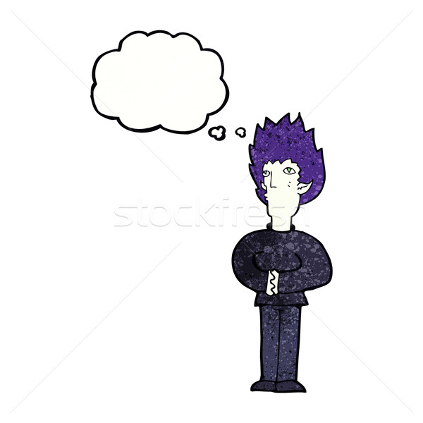 Desenho animado vampiro homem balão de pensamento mão projeto Foto stock © lineartestpilot