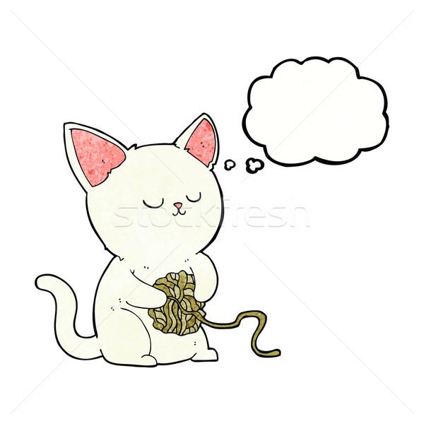 Cartoon кошки играет мяча пряжи мысли пузырь Сток-фото © lineartestpilot