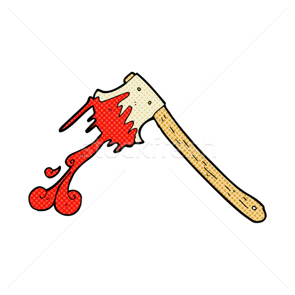 Cômico desenho animado sangrento machado retro Foto stock © lineartestpilot