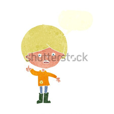 cartoon hippie man in wellington boots with thought bubble Stock photo © lineartestpilot