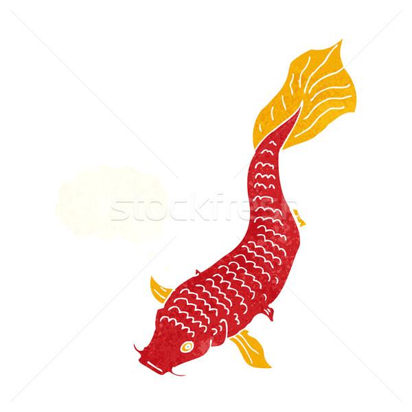 Cartoon vis gedachte bel hand ontwerp gek Stockfoto © lineartestpilot