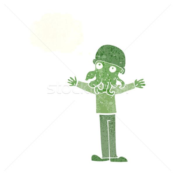 Rajz idegen tintahal arc férfi gondolatbuborék Stock fotó © lineartestpilot
