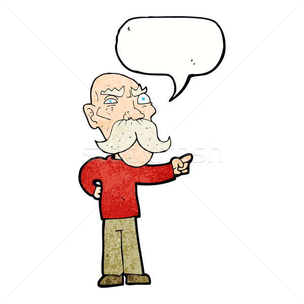 cartoon annoyed old man pointing with speech bubble Stock photo © lineartestpilot