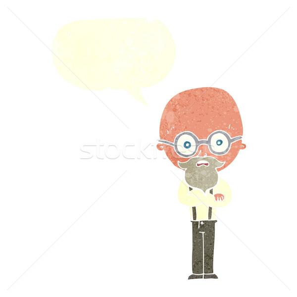 Desenho animado irritado velho balão de fala mão homem Foto stock © lineartestpilot