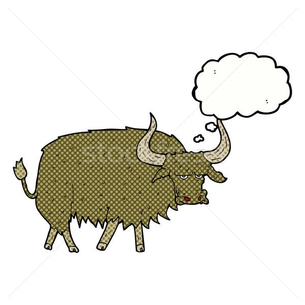 Cartoon волосатый корова мысли пузырь стороны Сток-фото © lineartestpilot