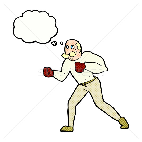 cartoon retro boxer man with thought bubble Stock photo © lineartestpilot