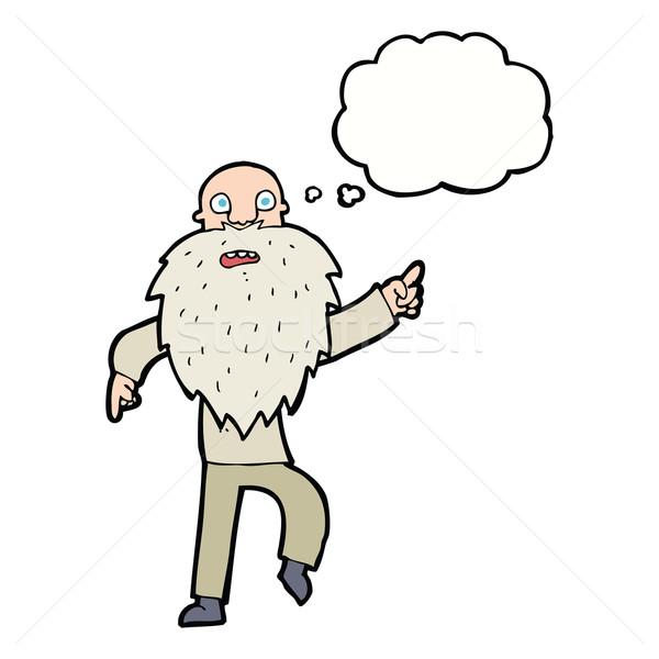 cartoon stressed old man with thought bubble Stock photo © lineartestpilot