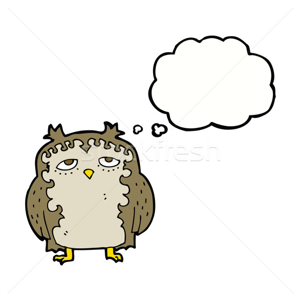 cartoon wise old owl with thought bubble Stock photo © lineartestpilot