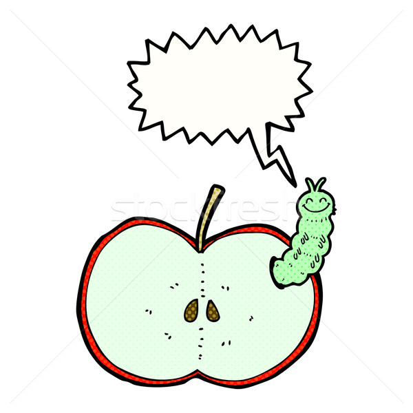 Cartoon bug manger pomme bulle main Photo stock © lineartestpilot