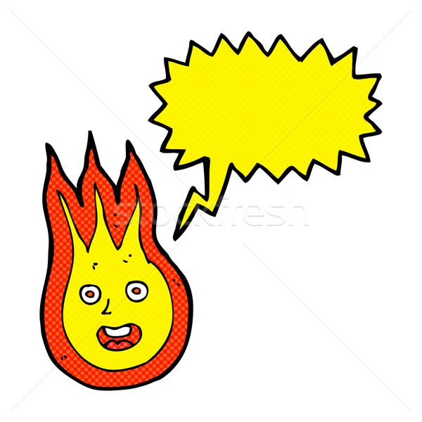 Cartoon vriendelijk vuurbol tekstballon hand ontwerp Stockfoto © lineartestpilot