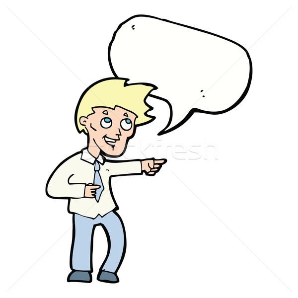 Rajz vicces iroda férfi mutat szövegbuborék Stock fotó © lineartestpilot