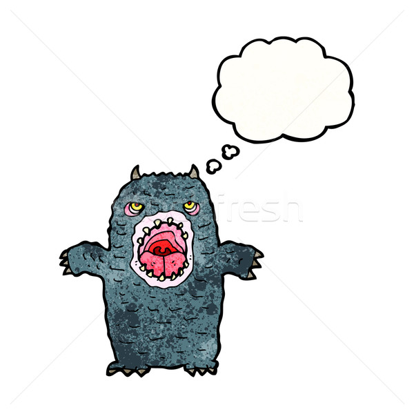 Cartoon effrayant monstre rétro pense dessin Photo stock © lineartestpilot