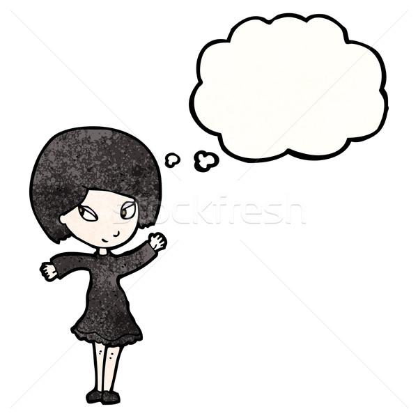 Cartoon goth fille rétro ballon dessin Photo stock © lineartestpilot