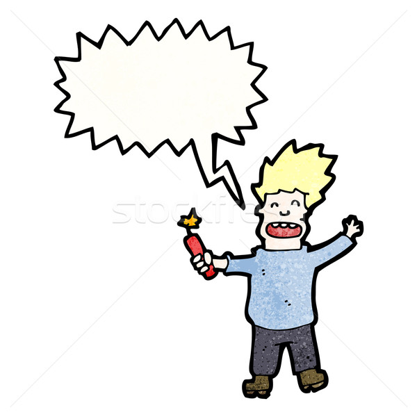 cartoon man with stick of dynamite Stock photo © lineartestpilot