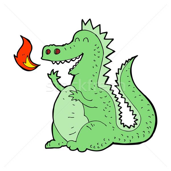 Cartoon fuego respiración dragón mano diseno Foto stock © lineartestpilot