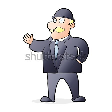 cartoon sensible business man in bowler hat Stock photo © lineartestpilot
