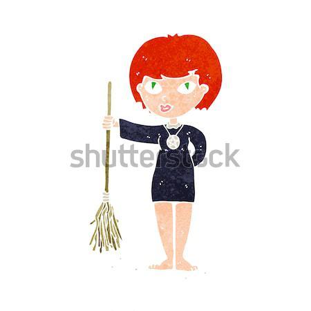 Karikatür kadın hizmetçi kostüm mutlu dizayn Stok fotoğraf © lineartestpilot
