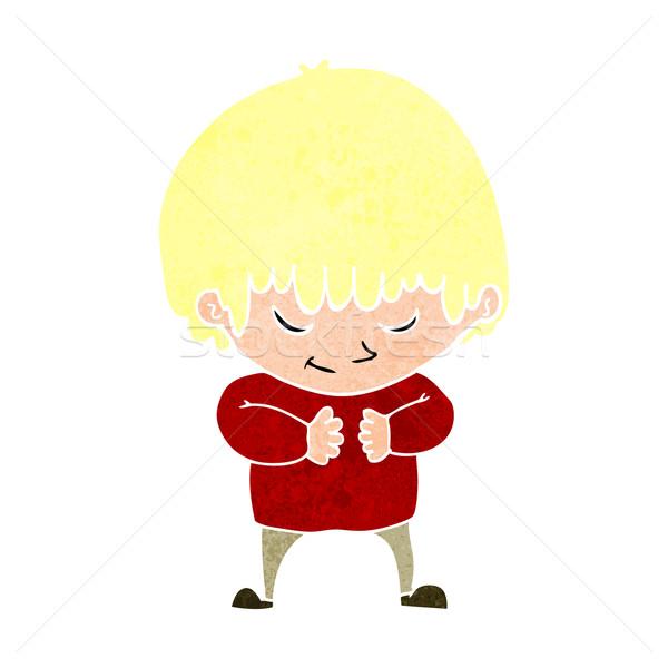 Cartoon shy ragazzo mano felice Crazy Foto d'archivio © lineartestpilot
