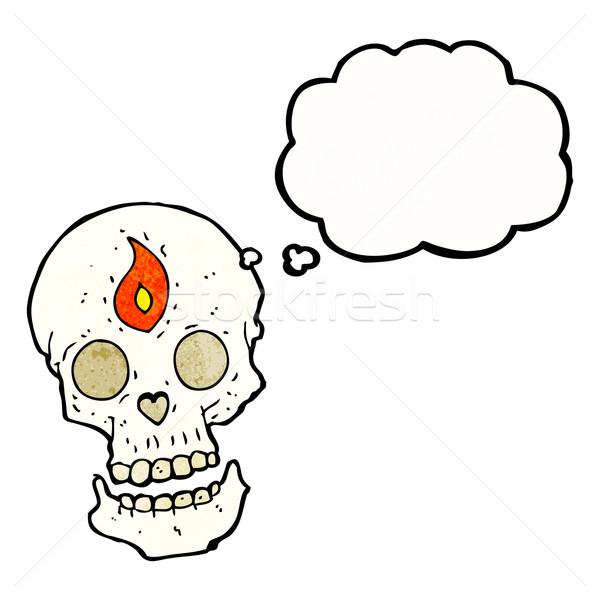 Cartoon mistica cranio bolla di pensiero mano design Foto d'archivio © lineartestpilot
