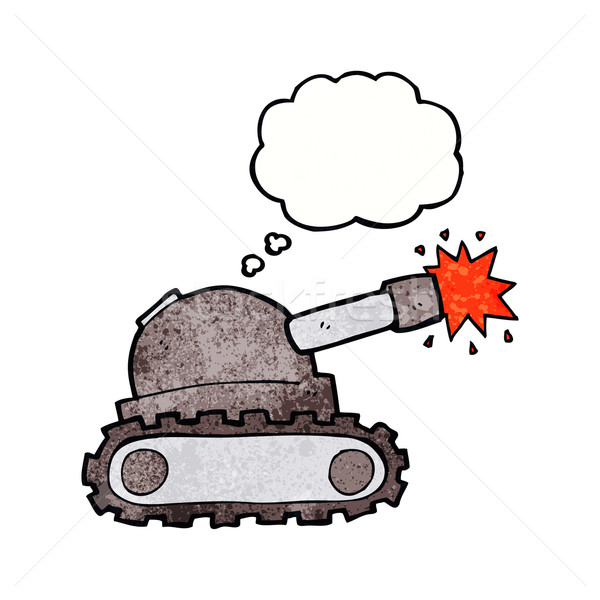 Stock photo: cartoon tank with thought bubble