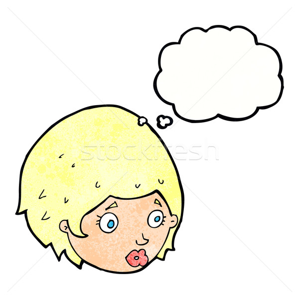 cartoon girl with concerned expression with thought bubble Stock photo © lineartestpilot