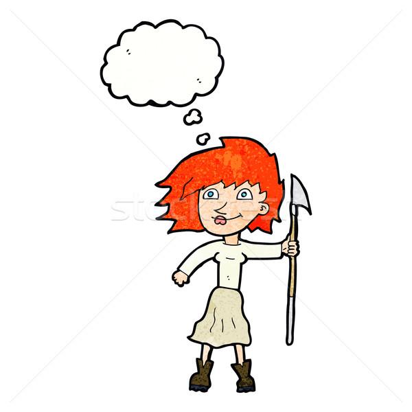 Cartoon vrouw speer gedachte bel hand ontwerp Stockfoto © lineartestpilot