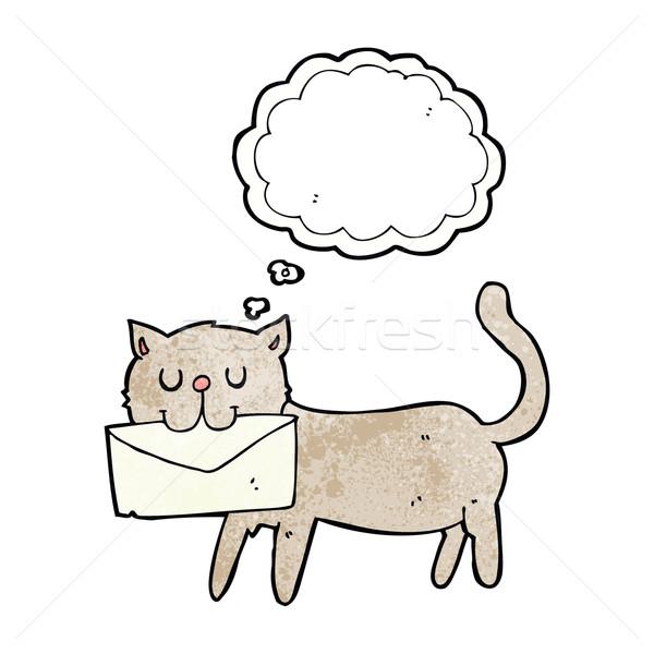 Cartoon kot list bubble myśl strony Zdjęcia stock © lineartestpilot