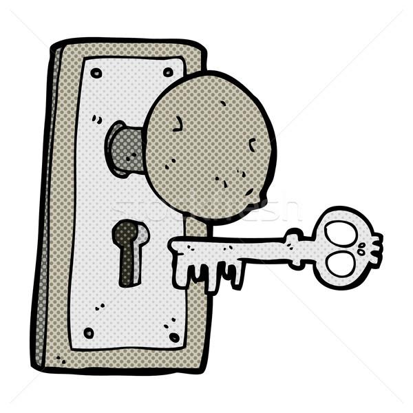 comic cartoon spooky old door knob Stock photo © lineartestpilot