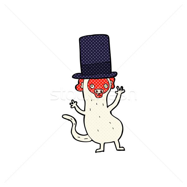 Komiks cartoon małpa górę hat retro Zdjęcia stock © lineartestpilot