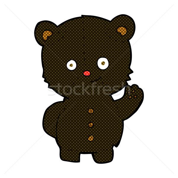 Komische cartoon zwarte beer welp Stockfoto © lineartestpilot
