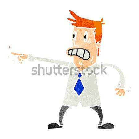 Cartoon bange oude man gedachte bel hand man Stockfoto © lineartestpilot