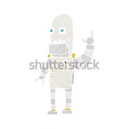 cartoon waving robot with thought bubble Stock photo © lineartestpilot