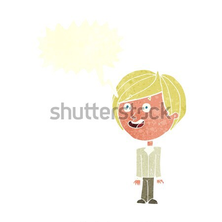 cartoon happy surprised boy with thought bubble Stock photo © lineartestpilot