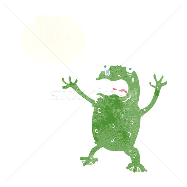cartoon frightened frog with thought bubble Stock photo © lineartestpilot