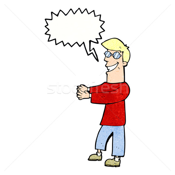 cartoon grinning man wearing glasses with speech bubble Stock photo © lineartestpilot