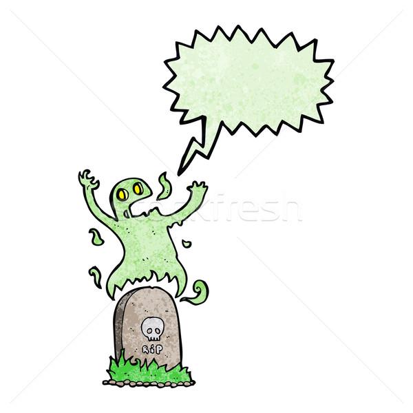 Cartoon fantôme grave bulle main Photo stock © lineartestpilot