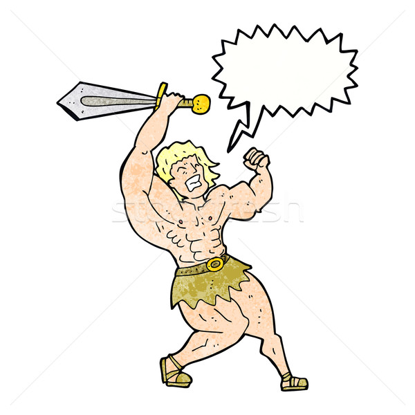 Stock photo: cartoon barbarian hero with speech bubble