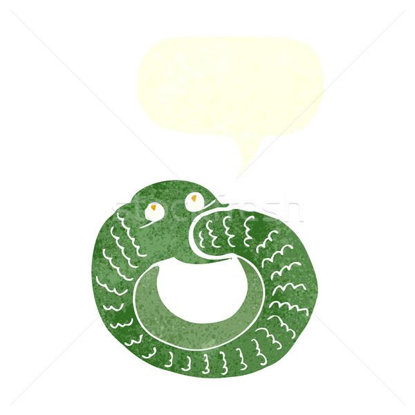 Desenho animado serpente alimentação próprio cauda balão de fala Foto stock © lineartestpilot