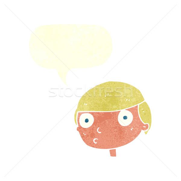 Rajz fiú bámul szövegbuborék kéz férfi Stock fotó © lineartestpilot