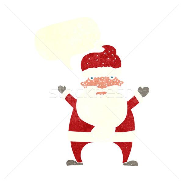 Cartoon уродливые Дед Мороз речи пузырь стороны дизайна Сток-фото © lineartestpilot
