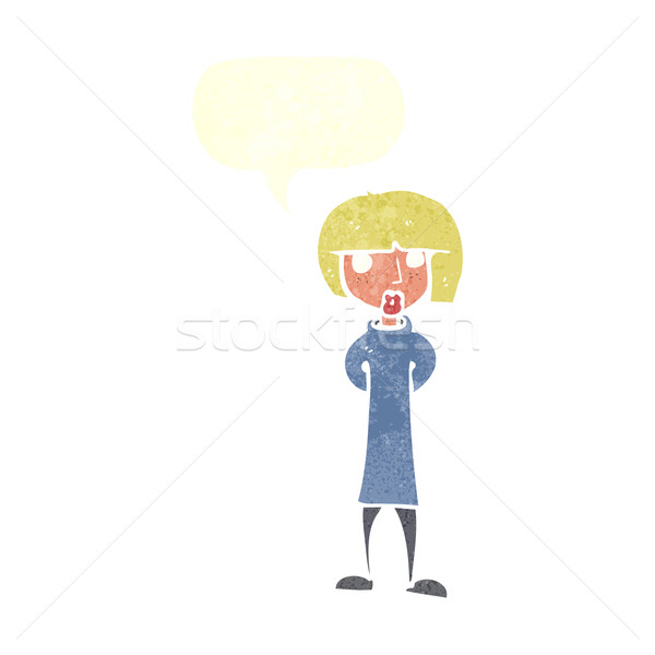 Cartoon curioso mujer bocadillo mano diseno Foto stock © lineartestpilot