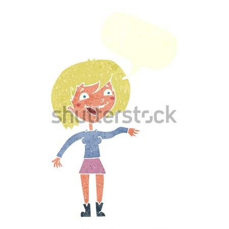 Cartoon vrouw grapje tekstballon hand ontwerp Stockfoto © lineartestpilot