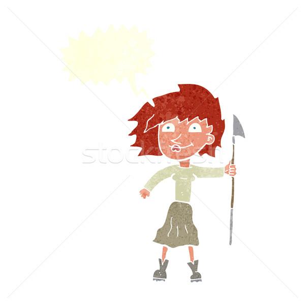 Desenho animado mulher lança balão de fala mão projeto Foto stock © lineartestpilot