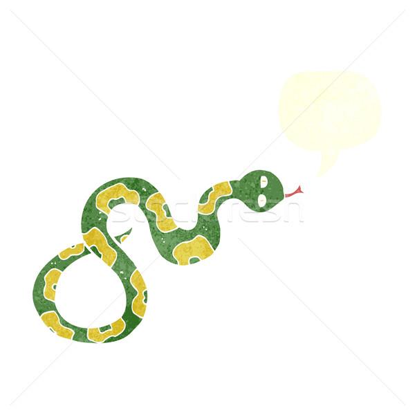 Rajz kígyó szövegbuborék kéz terv állatok Stock fotó © lineartestpilot