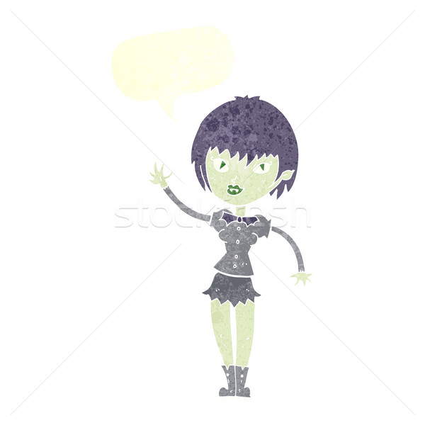Cartoon vampire fille bulle femme main Photo stock © lineartestpilot